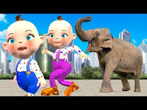 Funny Little Babies Bad Joker Girl Prank Animals Toys Wild Animals Attack Finger Family Rhymes