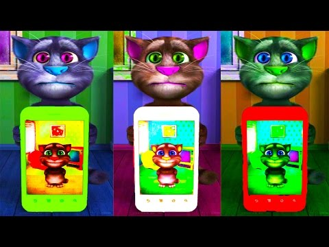 Talking Tom Cat Colors Reaction Compilation Funny Videos Kids Games Ben Dog Children  Funny Cat
