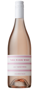 Three Rivers Winery 2017 Rosé was produced from Gamache Syrah, Columbia Valley 70%, Rosebud Sangiovese, Wahluke Slope 27%, Bacchus Riesling, Columbia Valley 3%.