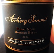 Archery Summit Summit Vineyard Pinot Noir is produced from the estate vineyard on Dundee Hills in Oregon's Willamette Valley.