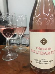 Oregon Solidarity is a rosé wine made from abruptly rejected Rogue River grapes that were purchased and jointly produced by Oregon producers.