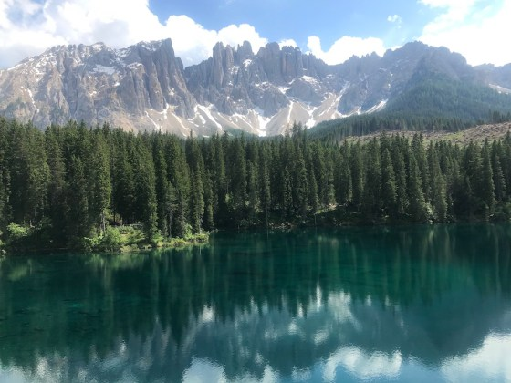 Lago Carezza is located in the Dolomite Mountains, near the Alto Adige wine region of northern Italy.