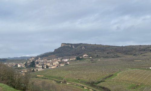 Roche de Solutré, a landmark near Bourgogne's Pouilly-Fuissé wine region.