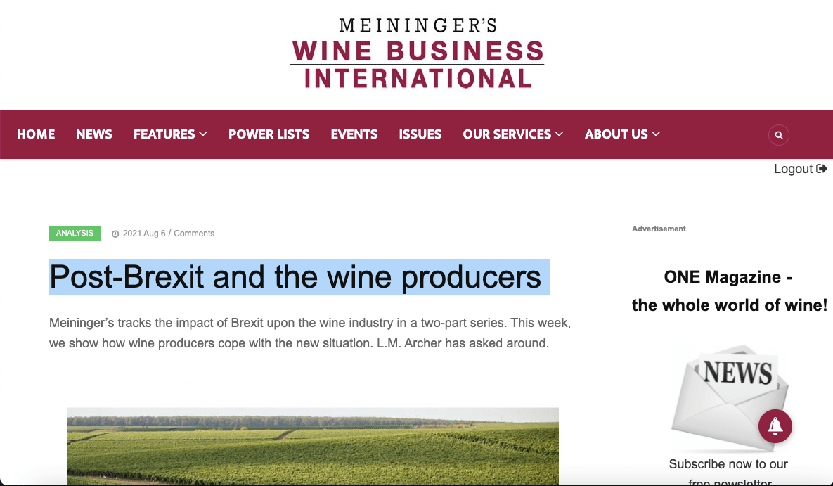 Meininger's Wine Business International tracks the impacts of Brexit on wine producers.