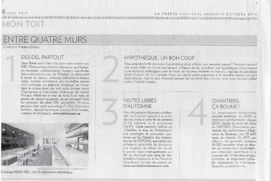 Article de Carole Thibaudeau concernant le projet Restaurant Crudessence (2009) par L. McComber ltée – architecture vivante