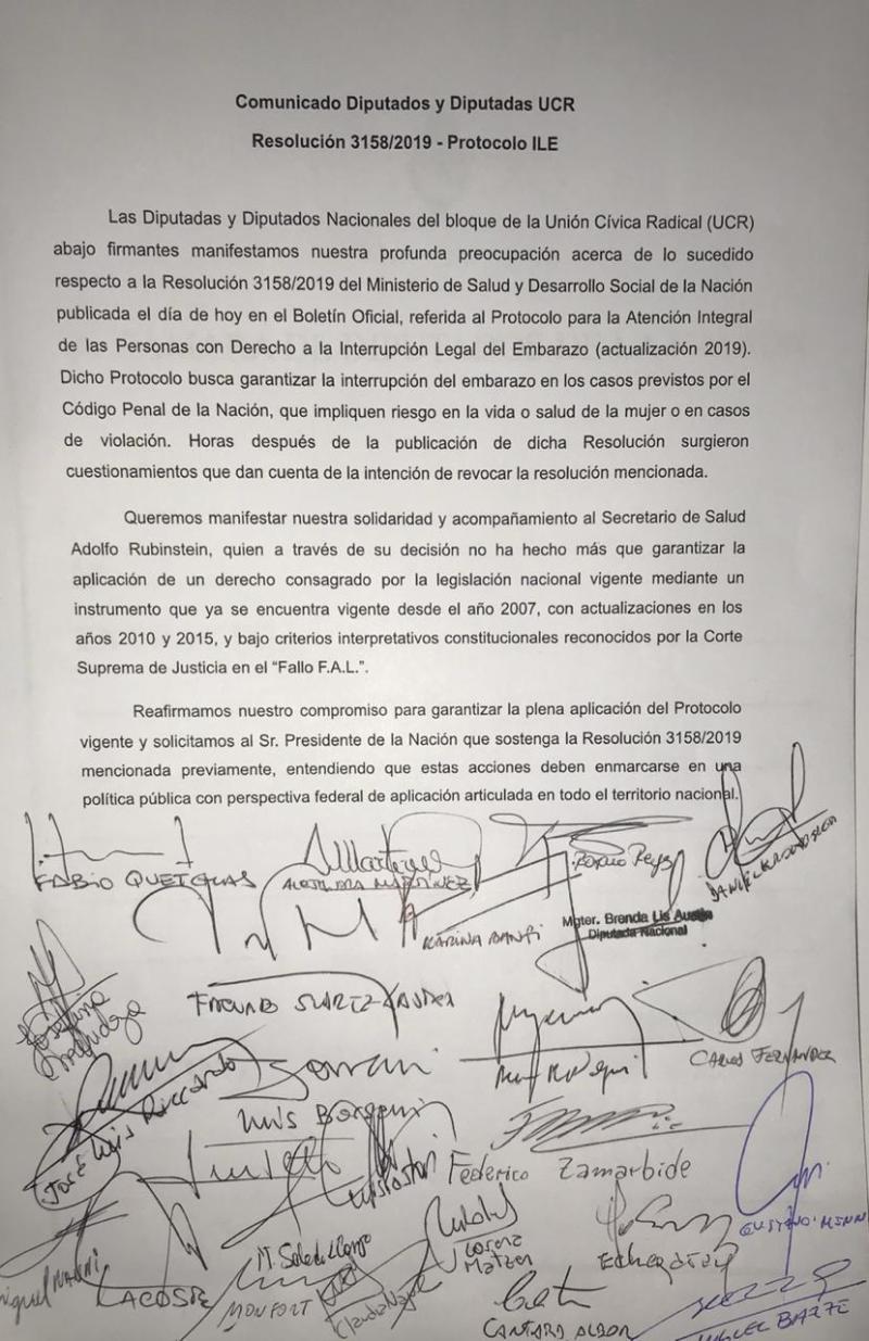 COMUNICADO diputados ucr en apoyo a Rubinstein