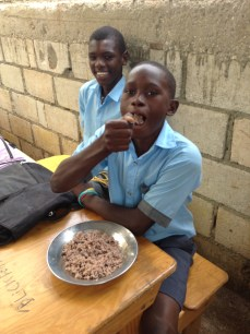 Students enjoy their daily lunch at New Life School