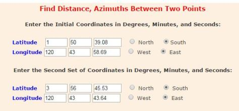 Azimuth from two coordinates
