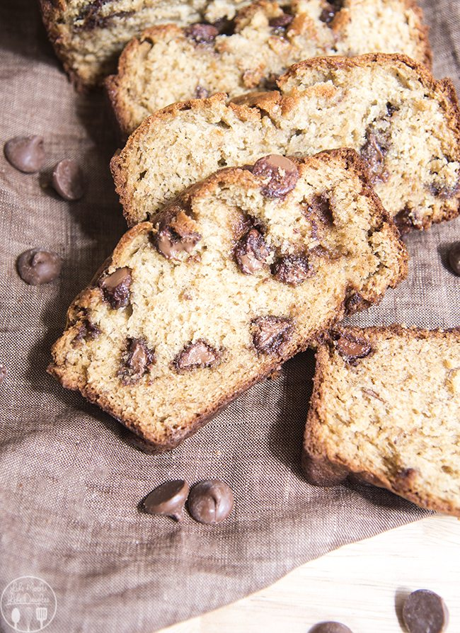 Chocolate Chip Banana Bread - This is the BEST banana bread recipe. This sweet banana bread is perfectly moist and soft and stuffed full of chocolate chips throughout.
