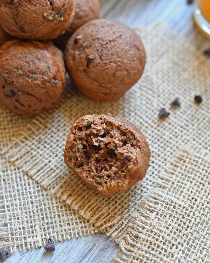 A healthy muffin of grated zucchini, double the chocolate with cocoa powder and chocolate chips; applesauce instead of oil, and honey instead of sugar. Easy enough to bake for breakfast or anytime you want a healthy snack.