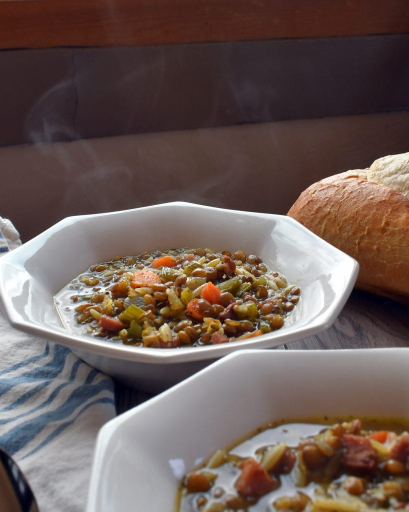 Lentil ham soup, an every day comfort soup, stocked full of healthy vegetables, tasty ham, hearty lentils, and pasta.