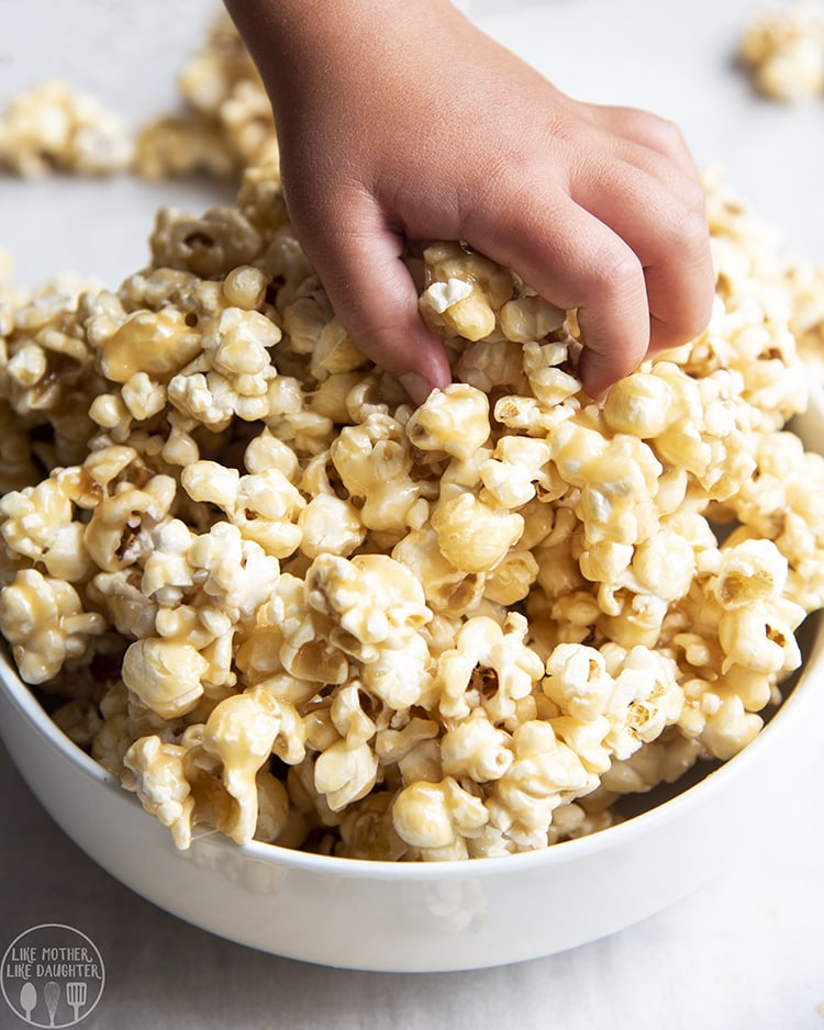 Caramel Popcorn with caramel made in the microwave.