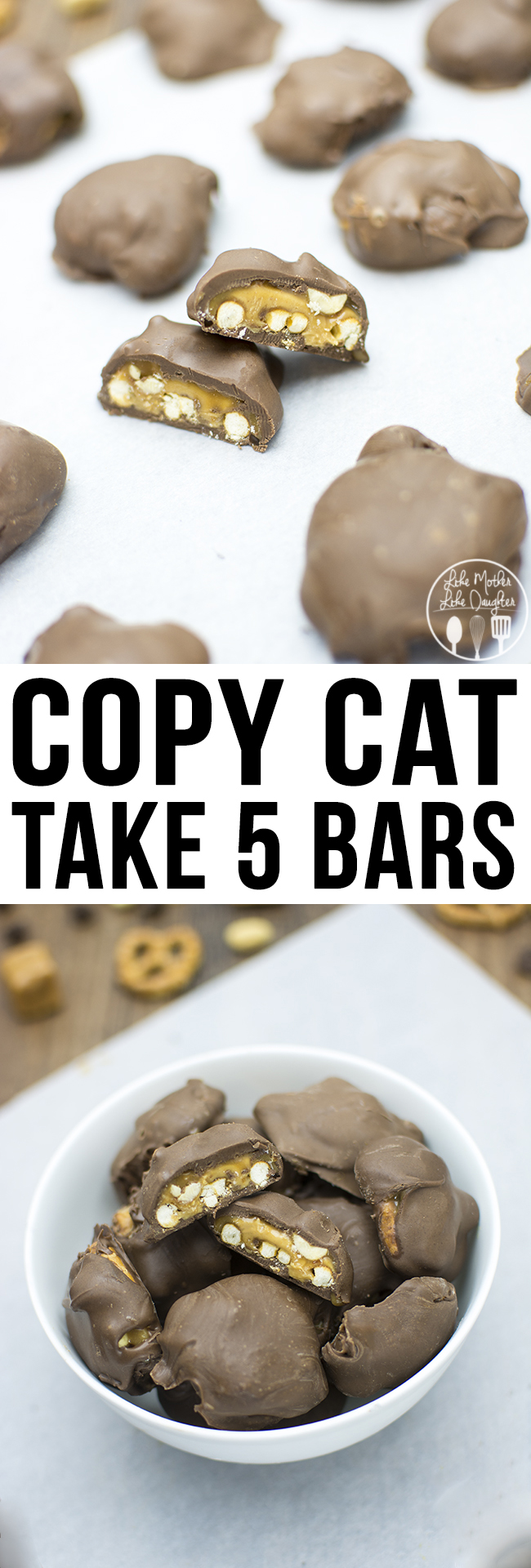Copy Cat Take 5 Bars - These homemade take 5 bars are just as good as the real thing. The great flavors of smooth and creamy peanut butter and caramel, salty and crunchy pretzels and peanuts all covered in delicious chocolate. You won't want to miss these delicious homemade candy bars!