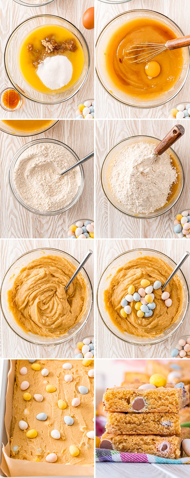 Step by step photos showing how to make cadbury mini egg cookie bars.