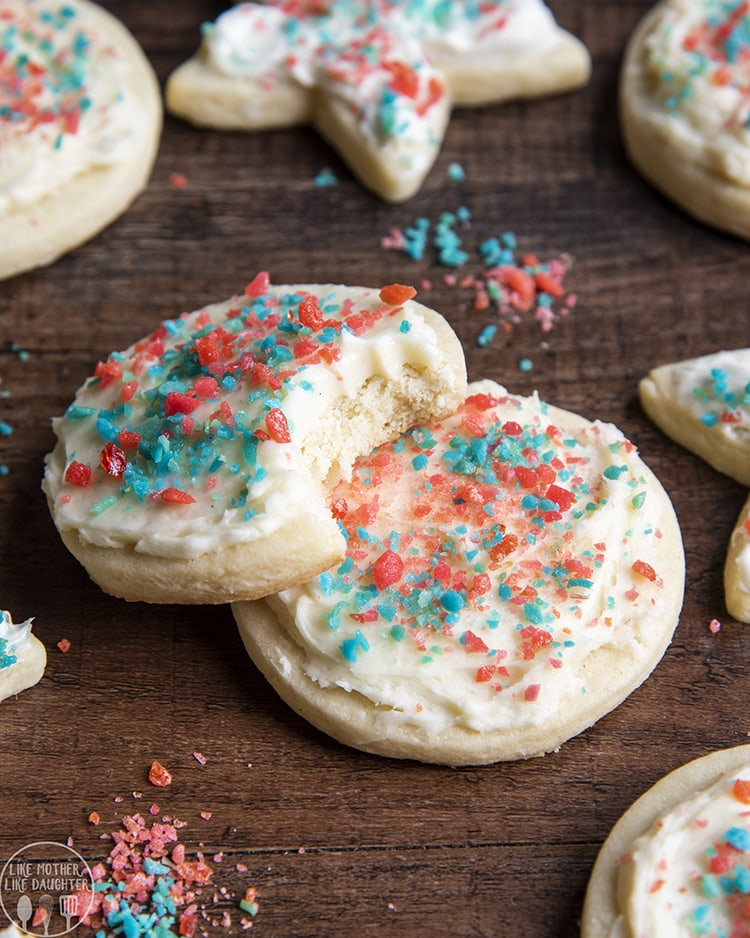 Fourth of July cookies topped with pop rocks
