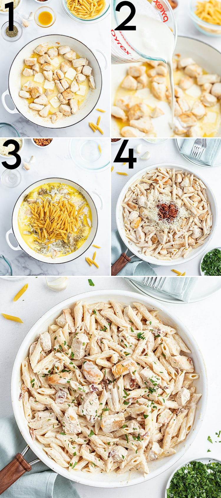 Step by step photos of how to make one pot chicken alfredo pasta, as described in the blog post.