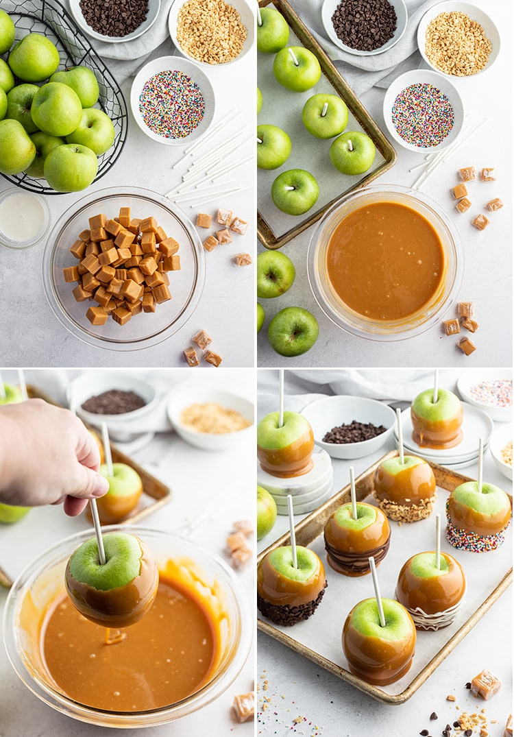 Step by step photos on how to make caramel apples.