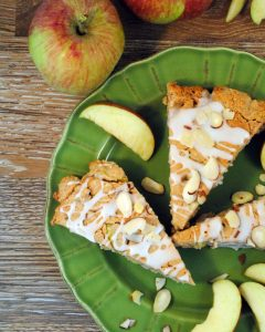 Almond Oatmeal Apple Scones are stuffed with fresh apples and oatmeal; flavored with cinnamon, nutmeg, cardamon baked to a perfection.