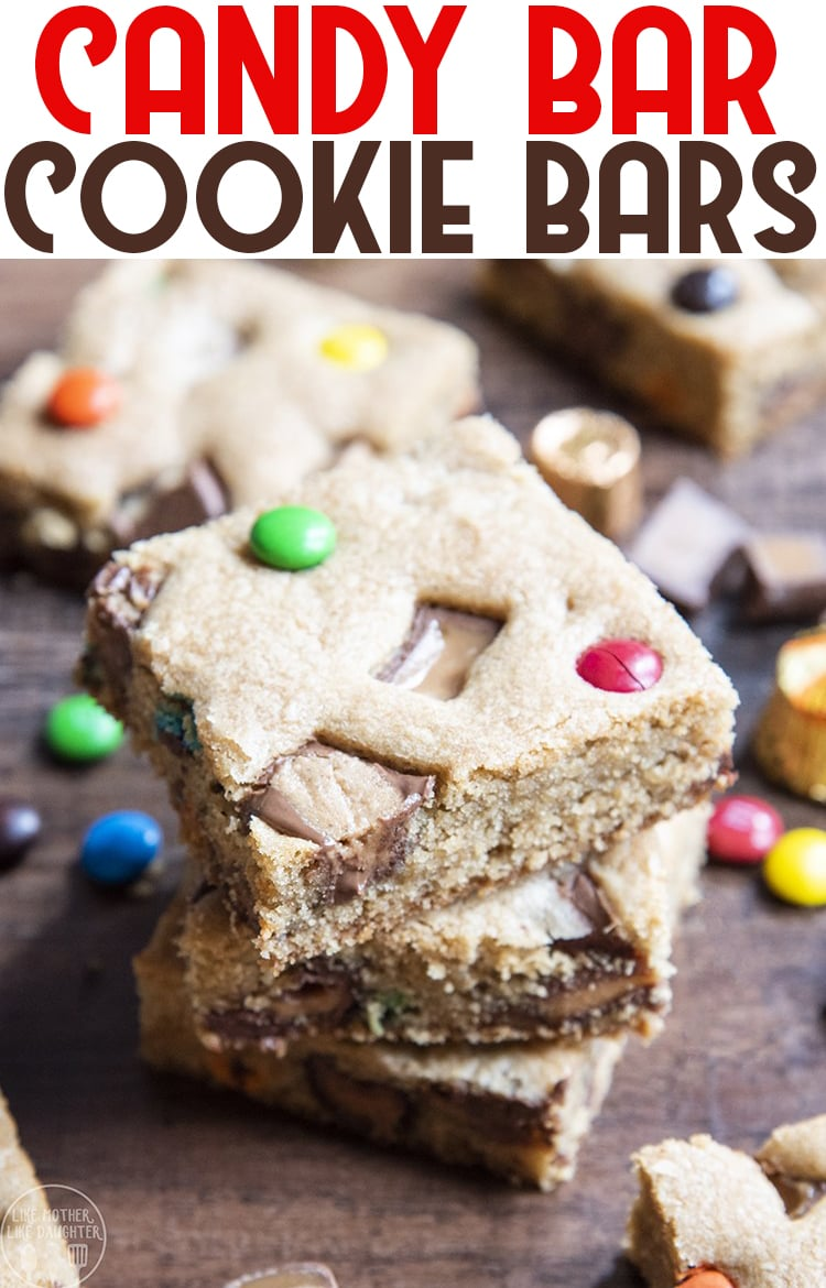 These candy bar cookie bars are delicious cookie bars packed full of your favorite chopped chocolate bars. They are a perfect way to use up leftover Halloween candy!