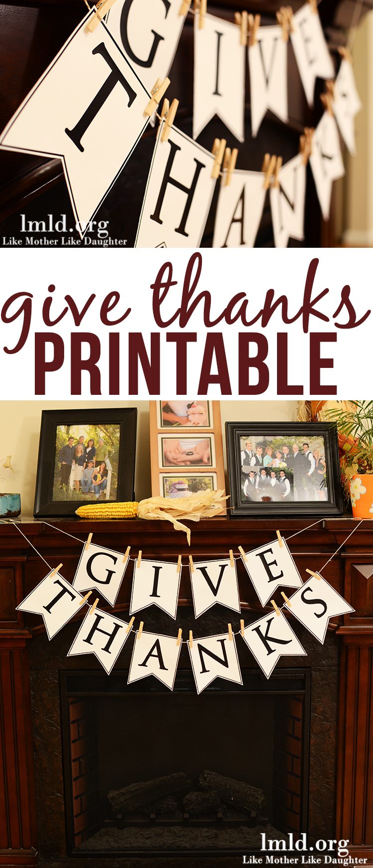 Give Thanks Banner - a cute printable for this give thanks banner to celebrate and be thankful this Thanksgiving!