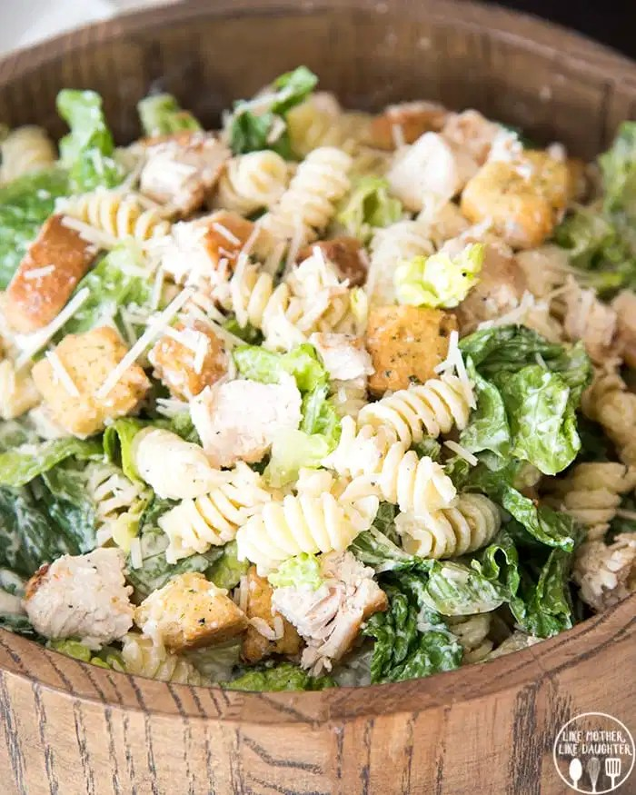 Chicken Caesar pasta salad is a delicious mix of pasta salad and chicken </em><em>Caesar salad and is perfect for lunch or a light dinner!