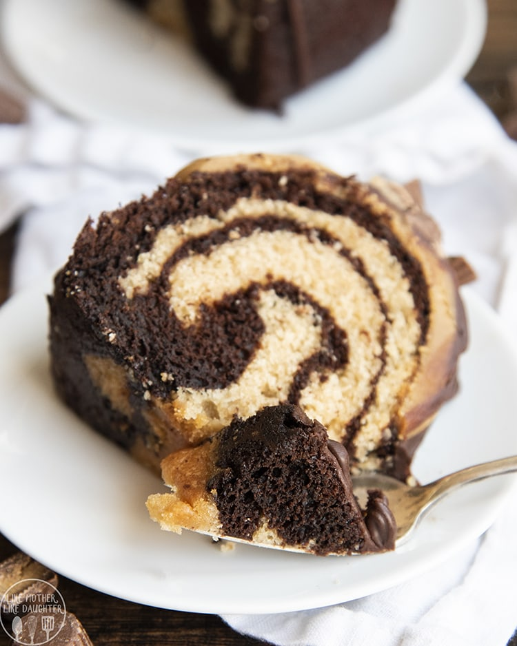 Chocolate Peanut Butter Swirl Bundt Cake