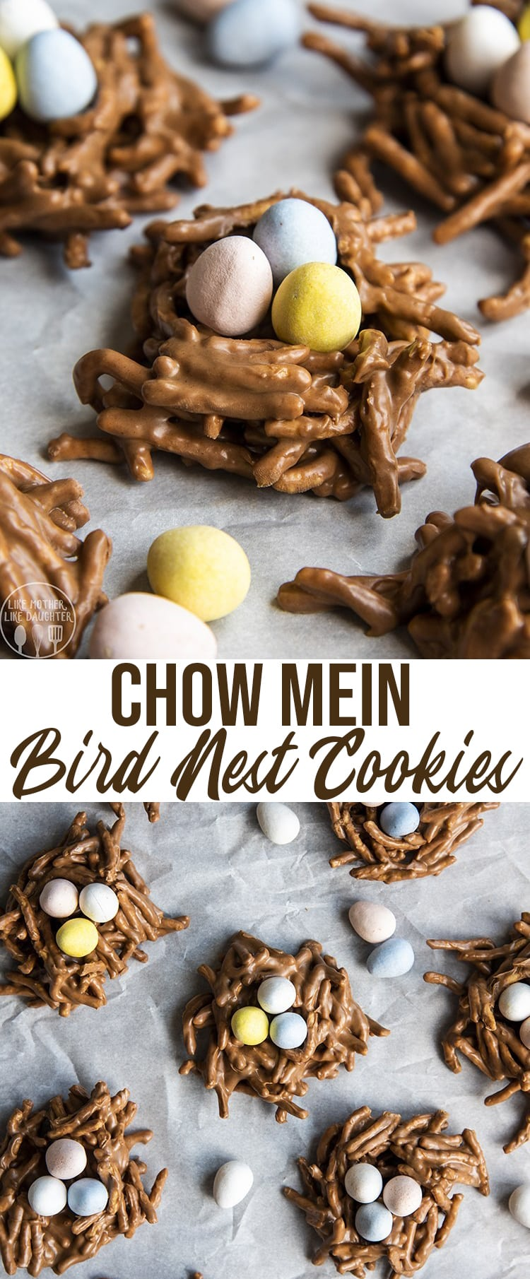 These cute chow mein Birds Nest Cookies are so fun for Easter. They combine chocolate, butterscotch, and peanut butter topped with your favorite chocolate Easter eggs, for the perfect Easter treat. #Easter #EasterDinner
