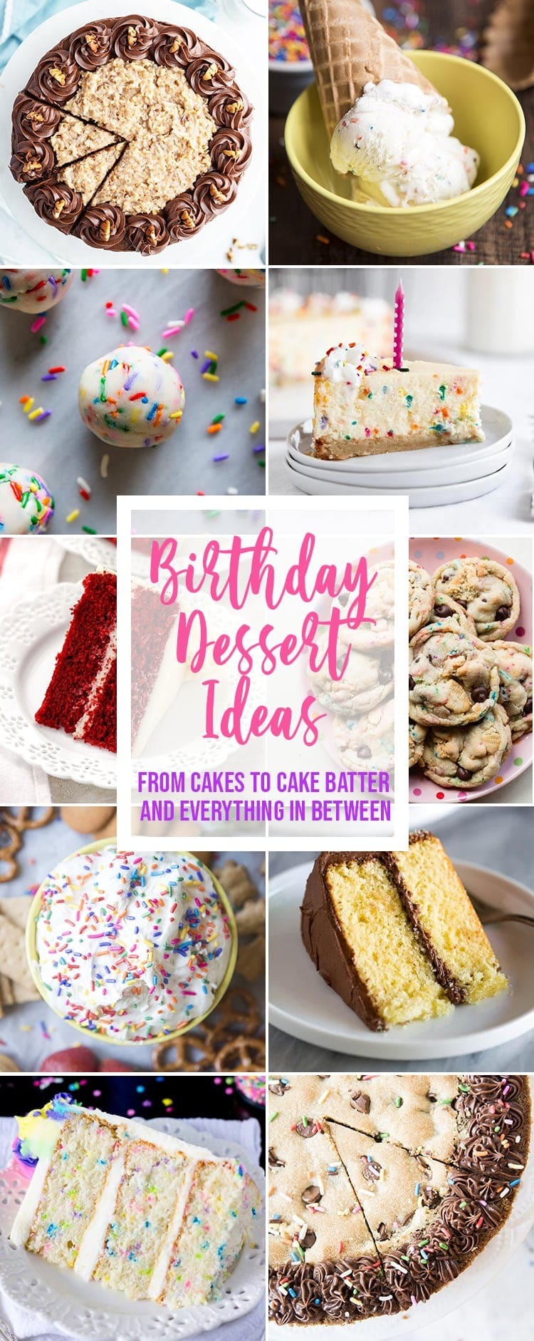 A collage of birthday themed desserts, with text overlay for pinterest.