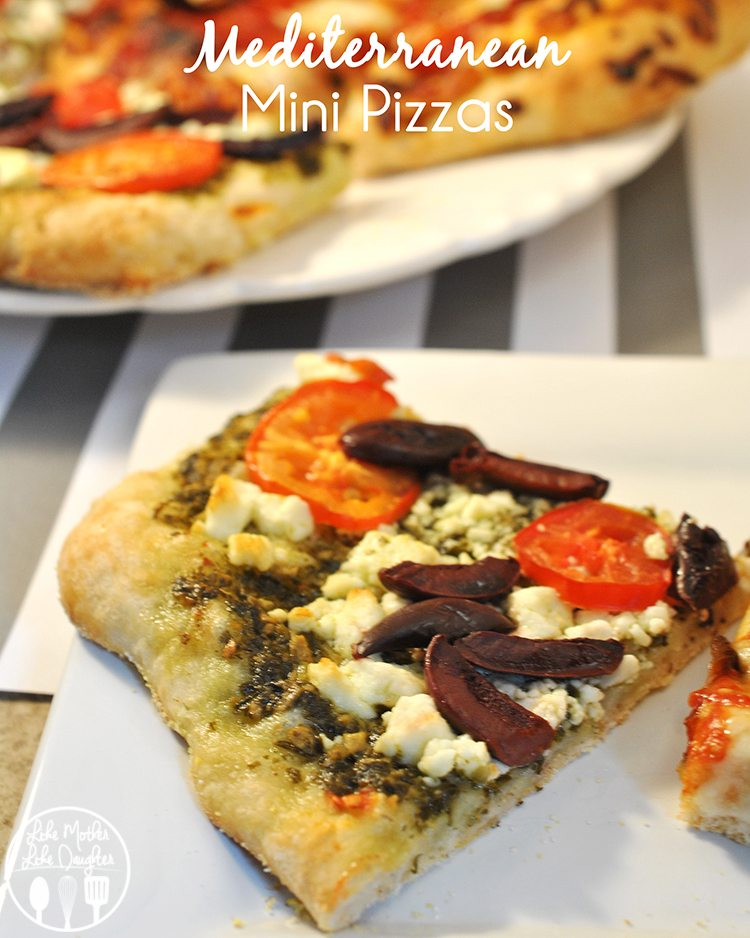 Mediterranean Mini Pizzas - Great mini pizzas topped with pesto, feta, olives and tomatoes!
