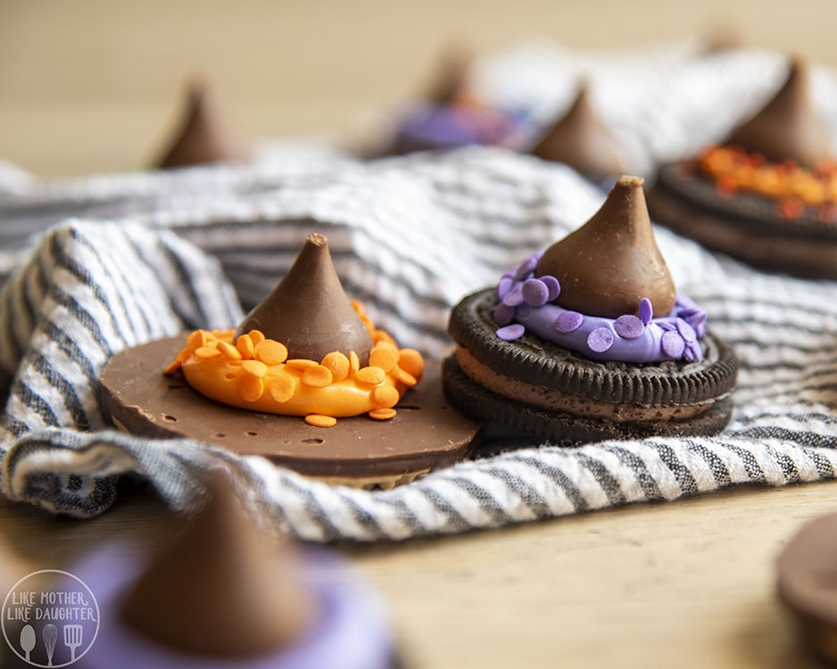Oreo cookies decorated to look like witch hats