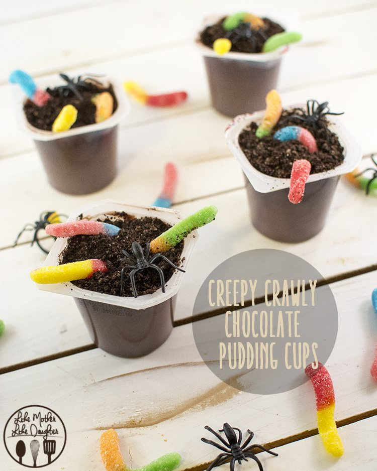 "Creepy Crawly Dirt Pudding Cups - These ""dirt"" pudding cups are topped with oreo crumbs and creepy crawly candy worms for an easy and delicious treat!"