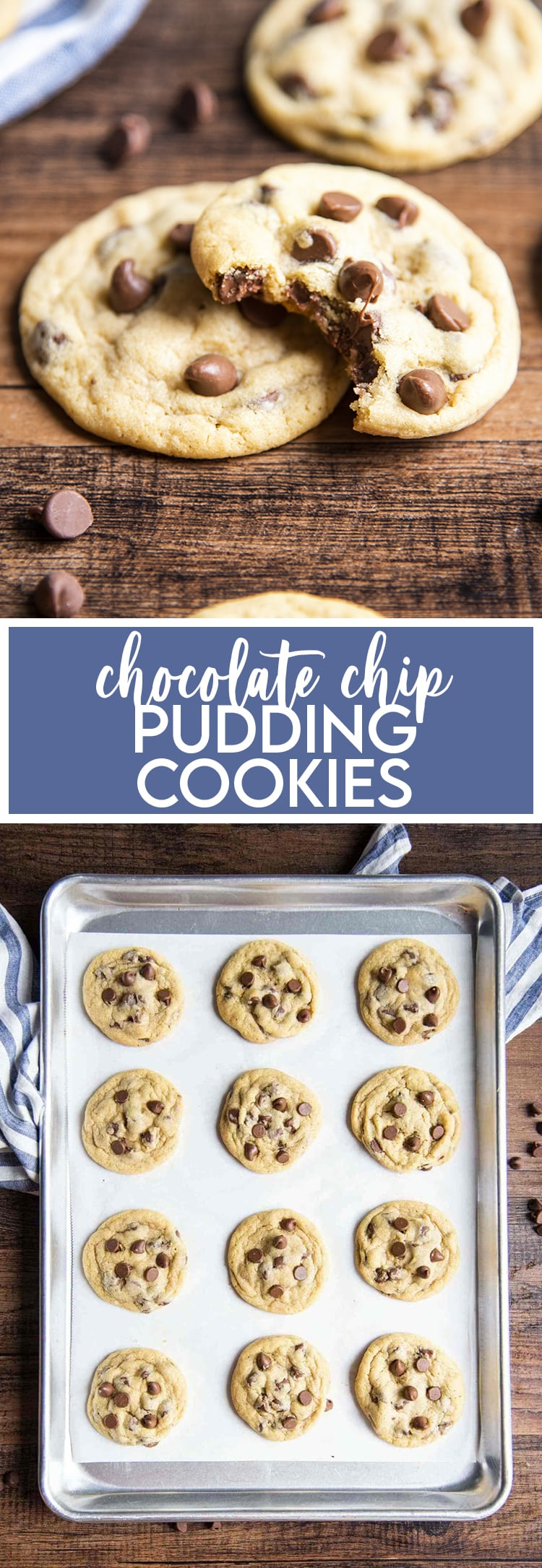 A collage of two photos of chocolate chip pudding cookies. The first is two cookies, one with a bite out of it. The second is pudding chocolate chip cookies on a baking tray.