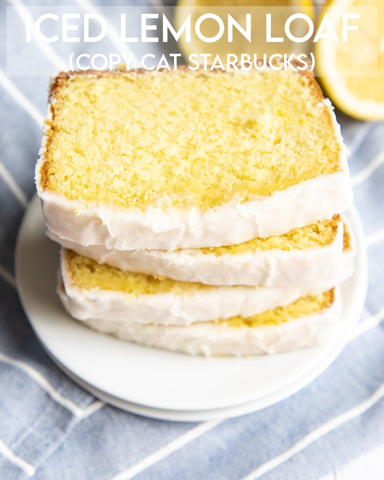 A stack of lemon pound cake slices on top of each other with text overlay for pinterest.