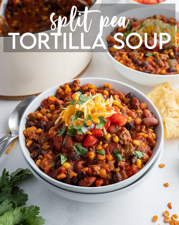 A bowl of split pea tortilla soup with text overlay for pinterest.