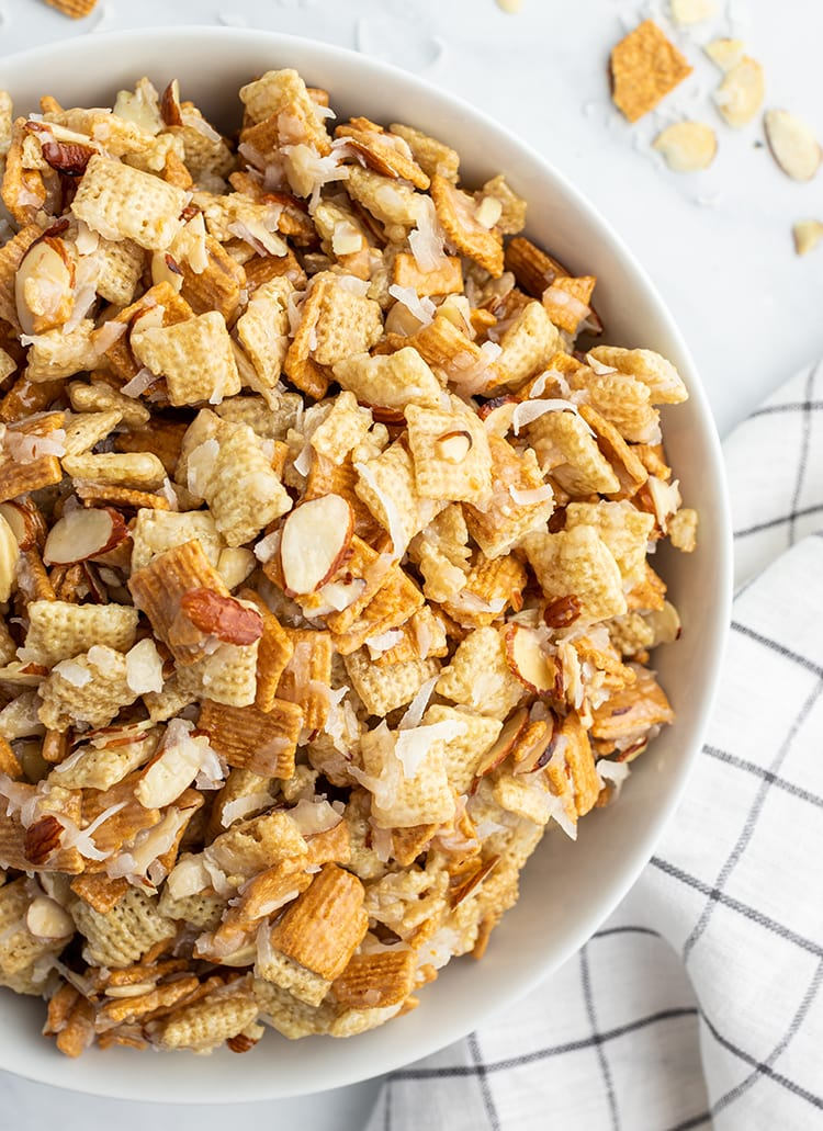 A bowl of coconut almond chex mix.