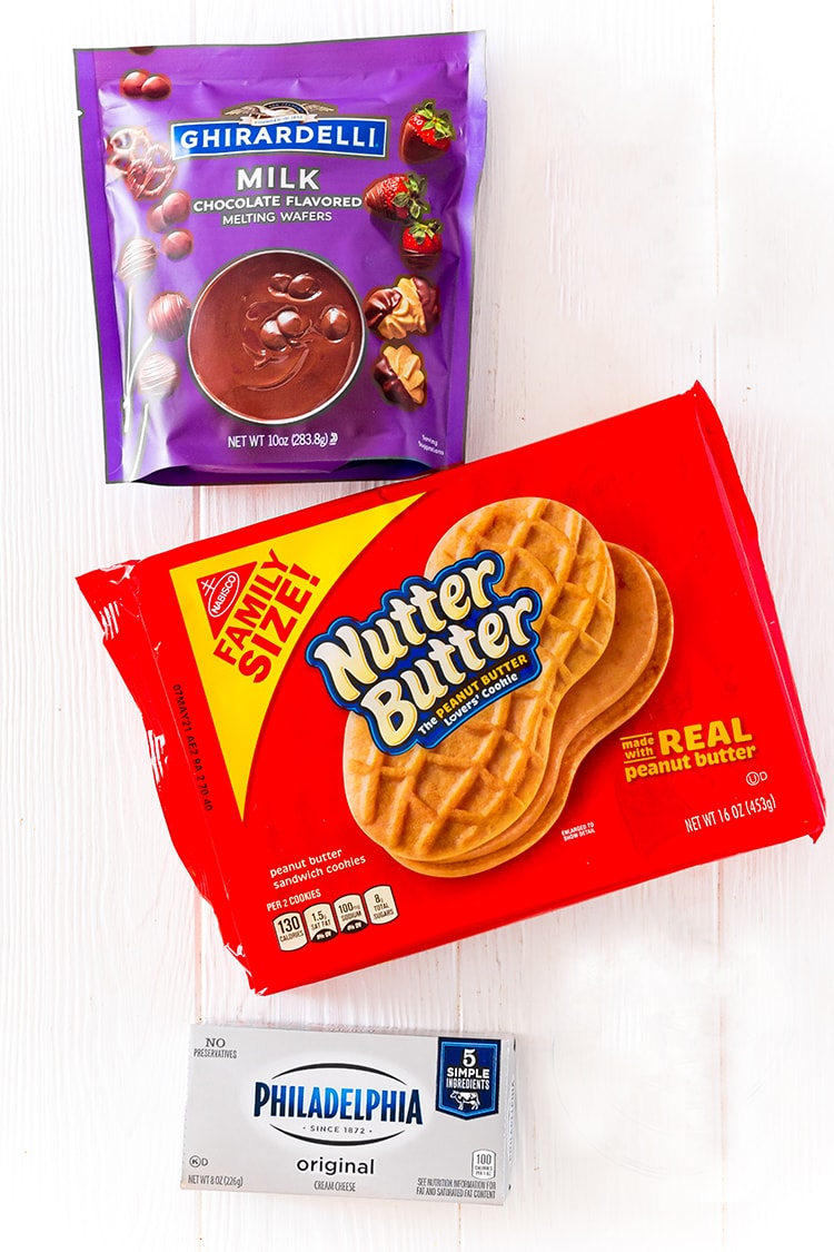 A photo showing a package of Nutter Butter Cookies, Ghiradelli Chocolate Melting Wafers and a package of cream cheese.