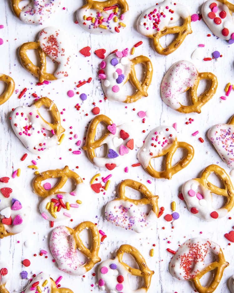 Valentine Pretzels dipped in white chocolate