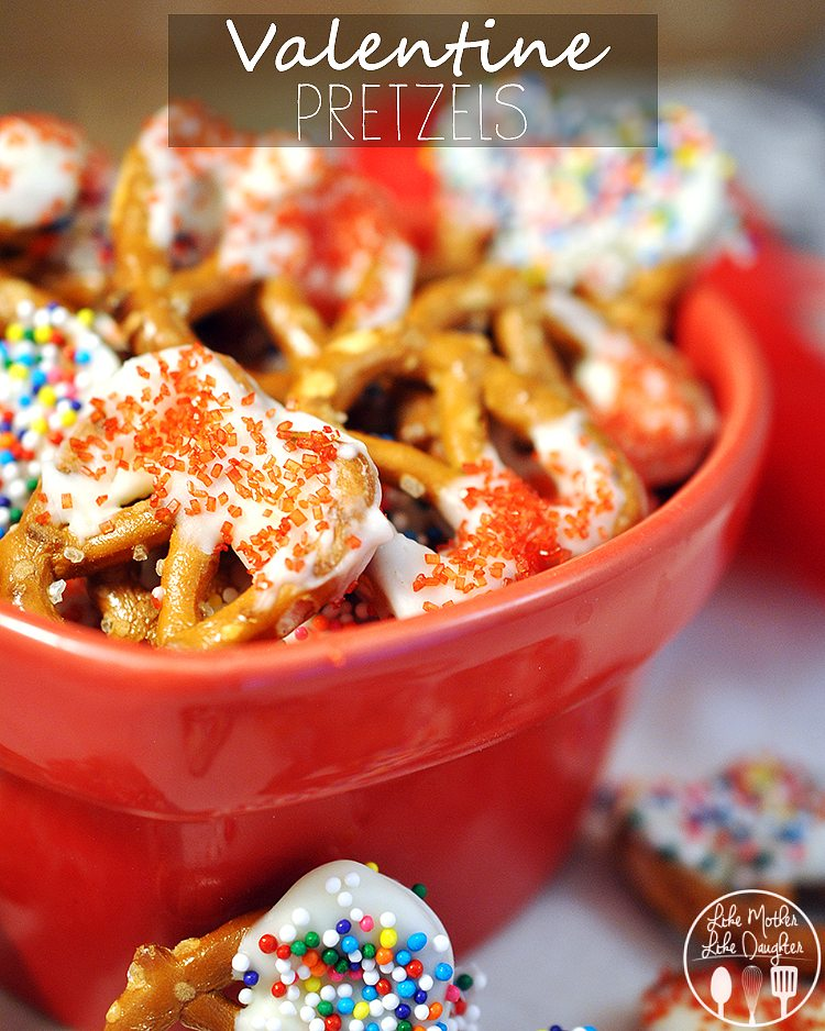 valentine pretzels - white chocolate dipped pretzels coated in red sprinkles for a cute valentine's day treat