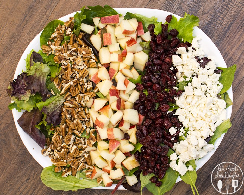 Apple Pecan Salad - This delicious and flavorful salad combines crisp apples, sweet dried cranberries, salty feta and crunchy pecans all tossed together with leafy greens and topped with your favorite salad dressing.