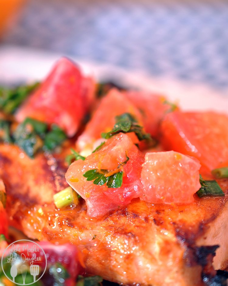 Blood orange salsa salmon - This delicious tender and flaky salmon is honey crusted and topped with a tasty citrus salsa.
