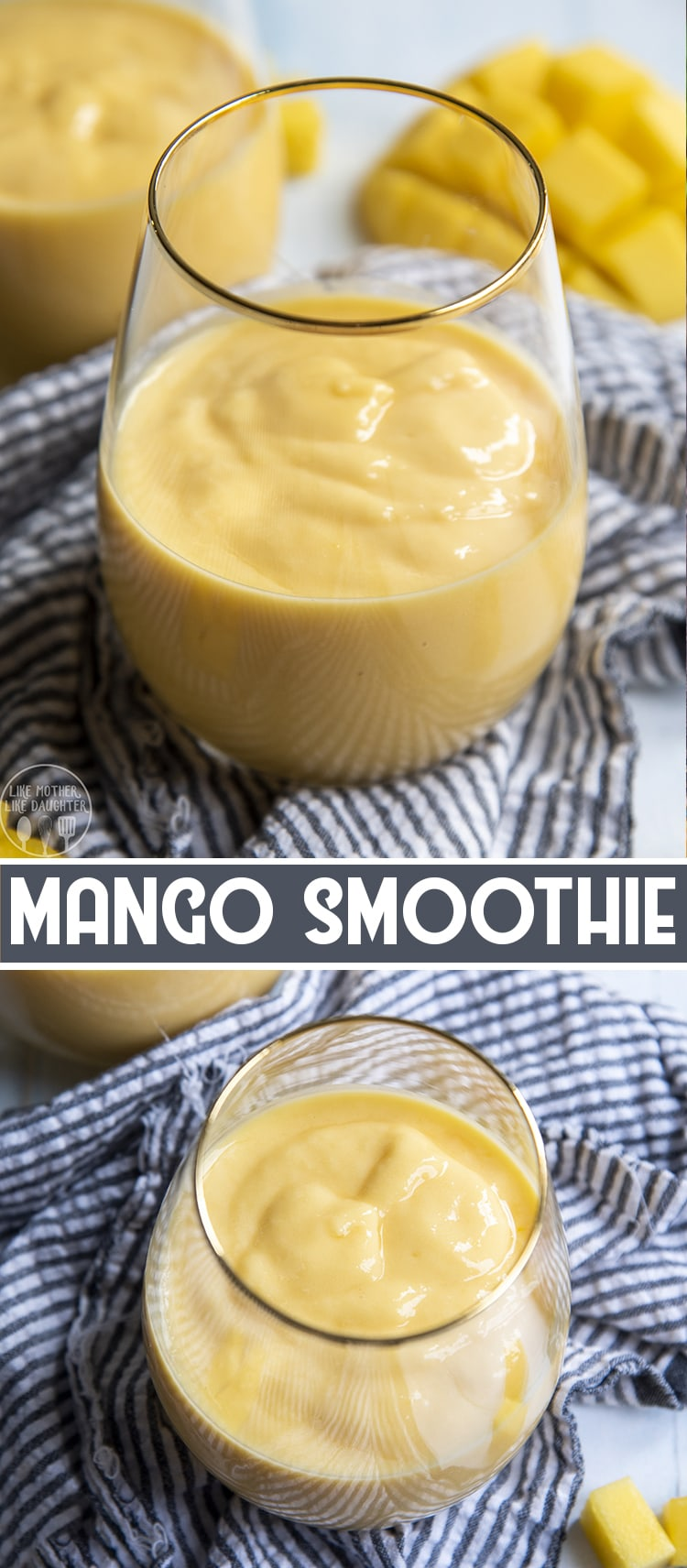 This delicious mango smoothie is so creamy and sweet, made with frozen mango pieces, juice, and yogurt. It's a refreshing way to start the day or to cool down with as an afternoon snack.