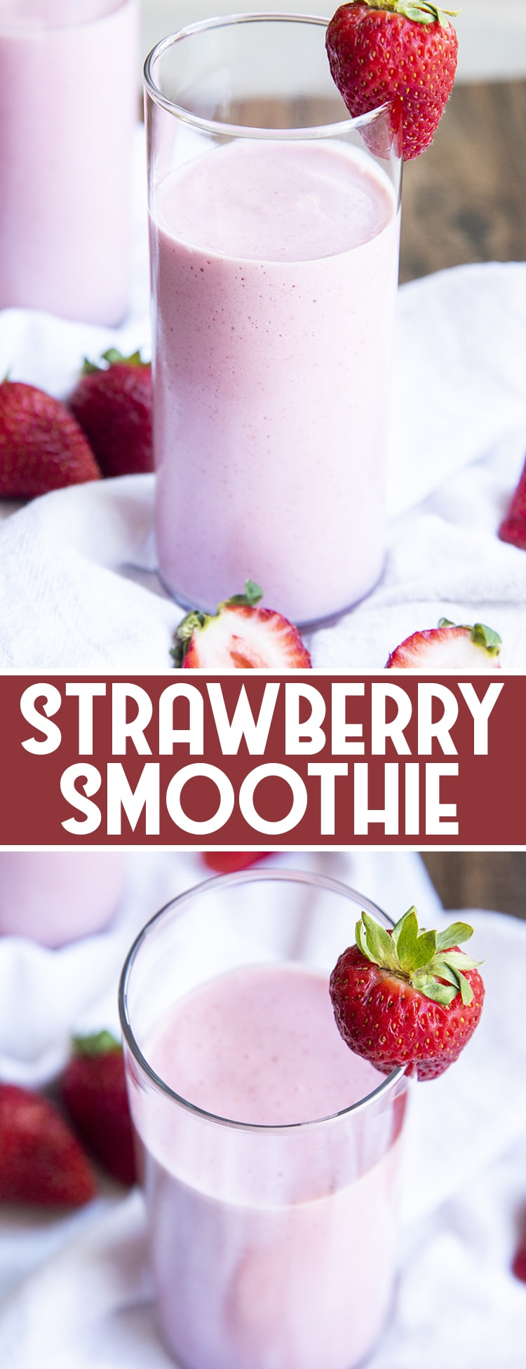 This strawberry smoothie is a fantastic way to start the day, it's sweet, only a few ingredients and comes together in just minutes for a breakfast that is not only good for you, but also delicious!