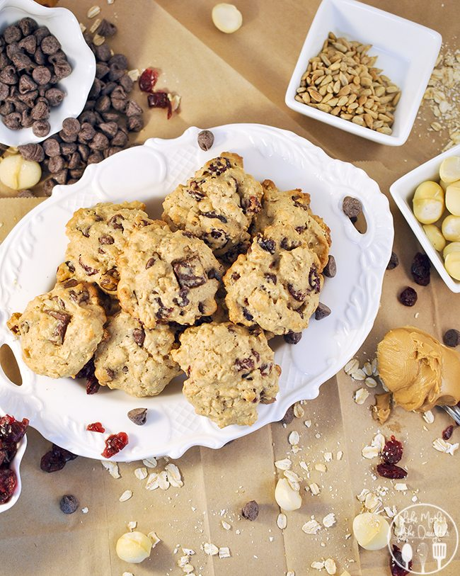Hurricane Cookies - These cookies are a soft chewy cookie bursting full of chocolate chips and chunks, rolled oats, peanut butter, sunflower seeds, and cranraisins!