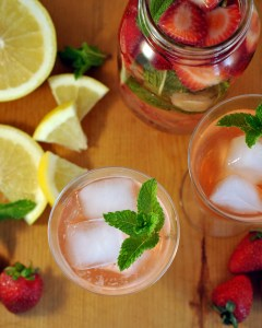 Strawberry Grapefruit Minty Infused Water, a refreshing way to enjoy your daily water. Water strawberries, grapefruit, mint leaves - healthy flavorful.