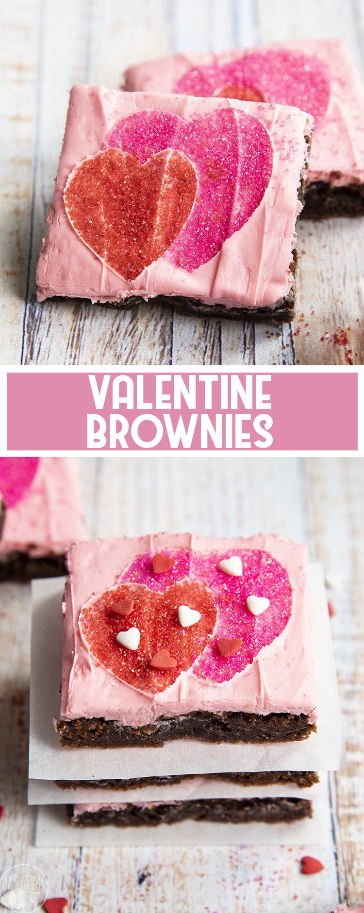 Valentine Brownies are a super easy and fun brownie topped with pink frosting and a heart pattern made with sprinkles!