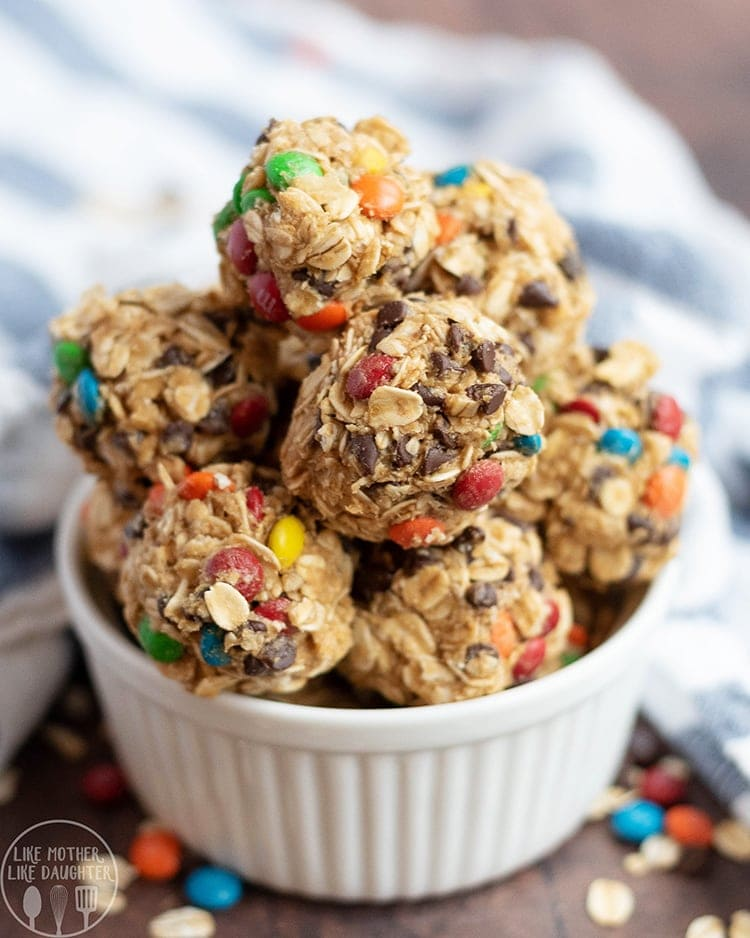 These no bake monster cookie granola bites are a delicious </em srcset=