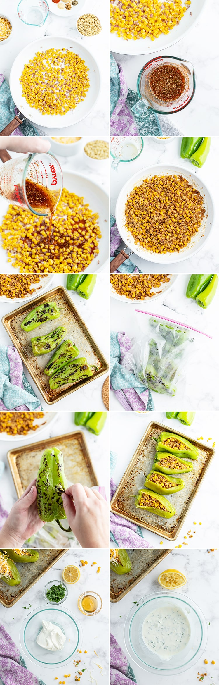 A collage of step by step photos showing how to make stuffed hatch chiles.