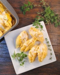 Butternut Sauce Ricotta Spinach Stuffed Shells has the goodness of roasted butternut squash sauce poured over cheesy spinach stuffed shells baked together for a delicious pasta dish