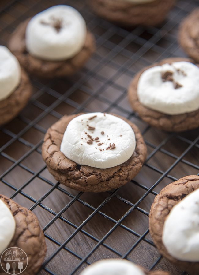 Hot Chocolate Cookies are delicious rich, soft chocolate cookies, topped with melted chocolate and a gooey marshmallow. They're perfect paired with a mug of steamy hot chocolate! Or great for a holiday party!