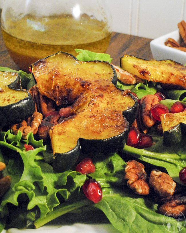 Roasted Autumn Squash Salad - This salad has roasted acorn squash, toasted pecan halves, fresh greens, and juicy pomegranate arils served with a warm apple vinaigrette.